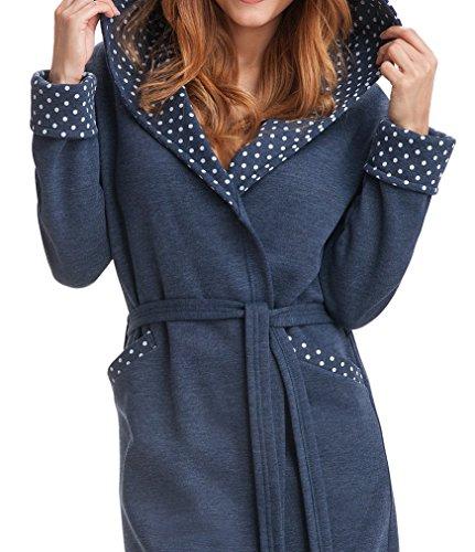 DOROTA kuscheliger und moderner Baumwoll-Bademantel mit Taschen, Bindeband & Kapuze - verschiedene Modelle Graphit-Gepunktet