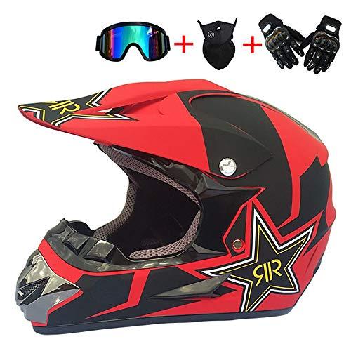 LYS Motorrad Helm Motocross Helme City Helme BMX Helme Motorrad Crosshelme, Kreative Persönlichkeit Lokomotive Mountainbike Helm, Handschuhe Maske Brille (Set von 4),L