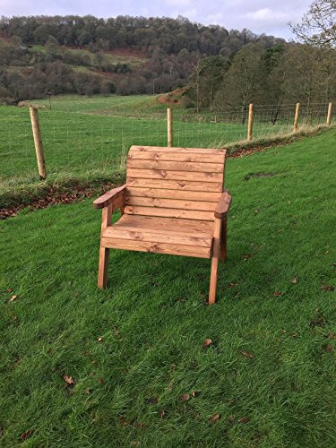 UKG Heavy Duty Large Extra Wide Wooden Garden Arm Chair With Extra Stability - UK Handmade Fully Assembled