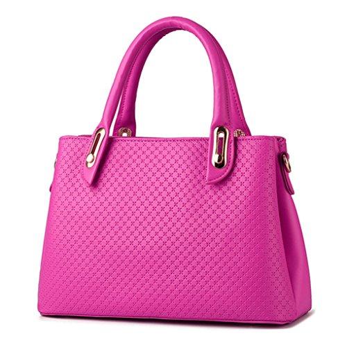 LaoZan Donne Pure Color Pu Pelle Tote Borsa A Tracolla Grande Capacità Borsetta Blu Reale Rose