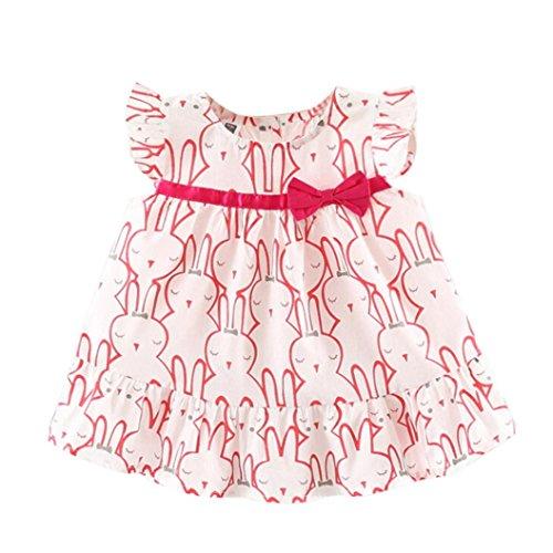 Robe de Bébés Filles, Paolian Été Nouveau née Fille Volants Lapin Imprimer Mini Robe sans Manches Princesse Robe (6M, Rouge)