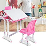 Chlildrens Study Desk Chair Set, Ergonomic Kids Desk Chair Height Adjustable Children Study Desk, Multi-functional Desk and Chair Set Childen Kids Study Table, Student Desk with Lamp and Book Stand