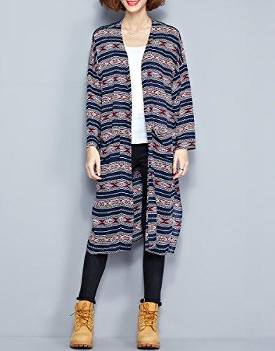 ELLAZHU Femme À La Mode Col Rond Style De Nation Impression Long Cardigan GA1046 A GA1046