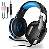 EasySMX [PS4 Auriculares Gaming] G1200 Auriculares Estéreo con Micrófono Ajustable y Control de Volumen y una Tecla Mute Compatible con PS4/ PC/Laptop
