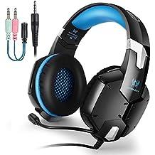 EasySMX G1200 Auriculares para PS4, Cascos con Micrófono Ajustable y Control de Volumen y una Tecla Mute Compatible con PS4/ PC/Laptop/ Móvil/Pad (Azul) para Jugadores