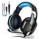 [PS4 Auriculares Gaming] EasySMX G1200 Auriculares Estéreo con Micrófono Ajustable y Control de Volumen y una Tecla Mute Compatible con PS4/ PC/ Laptop/ Móvil/ Pad (Azul)