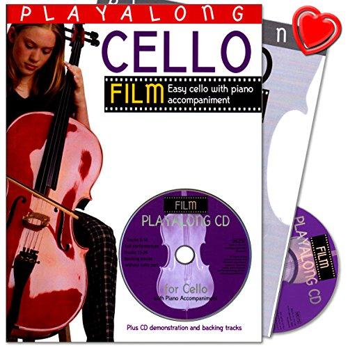 Playalong Cello: Film Tunes - außergewöhnliche Sammlung von einfachen und bekannten Stücken aus dem Bereich des Films für Cellisten - Sammelband mit seperate Notation, CD und bunter herzförmiger Notenklammer