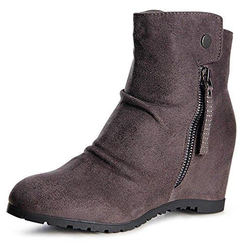 topschuhe24 982 Damen Keilabsatz Stiefeletten Boots Booties Grau