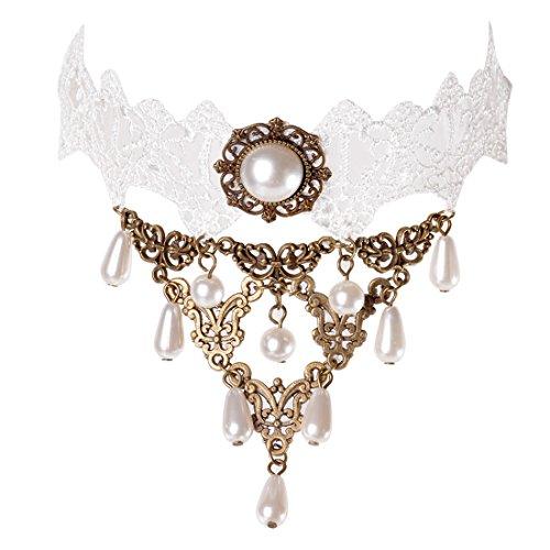 Souarts Collier Choker Tour de Cou Gothique Dentelle avec Pendentif Perles Blanc 31.5x3.3cm