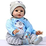 "22"" Silicone Lifelike Reborn Baby Boy Doll with Magnetic Dummy"