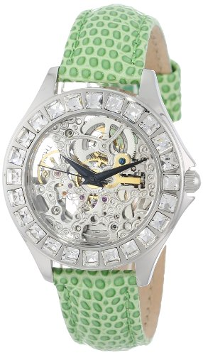 burgmeister-merida-womens-automatic-watch-with-silver-dial-analogue-display-and-green-leather-strap-