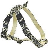 CHAPUIS SELLERIE SLA381 Arnés ajustable para perro y gato - Arnés aterciopelado con estampado de leopardo - Ancho 10 mm - Dimensiones: 20-35 cm - Talla XS