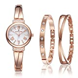 Timothy Stone Damen Geschenk-Set Damen Rose Gold Armbanduhr Legato mit Perlmutt und Zwei Schmuck Armbänder, Swarovski-Kristallen