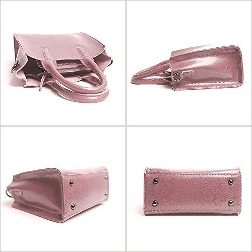 Leathario Borsa donna pelle vera tracolla rosa spalla a mano eleganti lavoro vintage cuoio fashion borsone sacca shopping weekend rosa