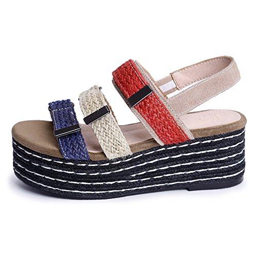 Damenschuhue Open Toe Sommer Sandalen Flach Plateauschuhe Schnalle Beige