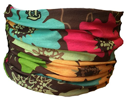 Multifunction Neckwarmer, Snood, Hat, Scarf and Hood with a mixed flowers print by Monogram