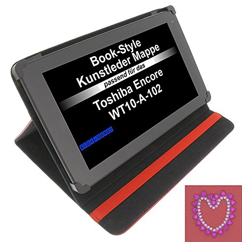 Tasche Strass Herz für Toshiba Encore WT10-A-102 Excite AT10-A-104 Book Style Schutz Hülle Buch rot