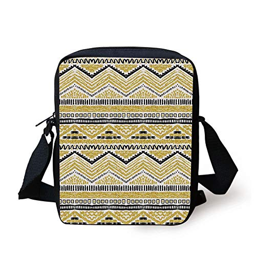 Gold and White,Sand Seem Design with Zig Zag Lines Stripes Chevron Ethnic Image,Yellow Black and White Print Kids Crossbody Messenger Bag Purse -