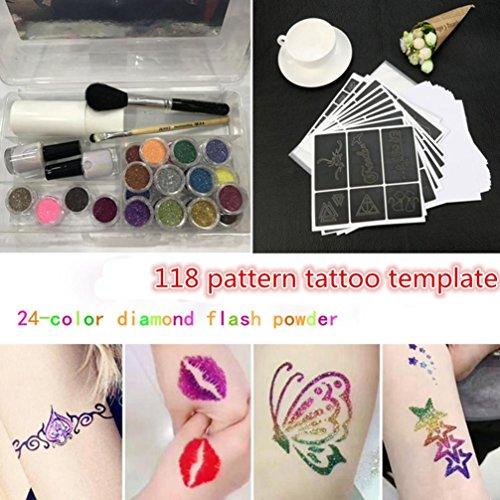 Hunpta Glitzer Tattoo Powder Temporäre Tattoo Body Painting Kit Bürsten Kleber Schablonen (Multicolor)