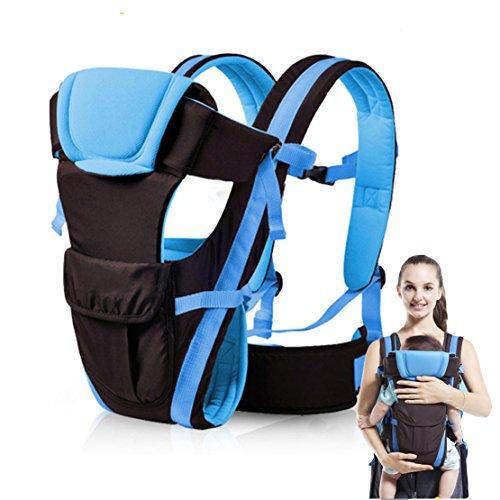 Komfortabel Komforttrage Babybauchtragen Praktische Atmungsaktiv Kindertrage Einstellbar Bauchtrage Babytragen Baby Rückentrage Hüfttrage Für 3-36 Monaten Baby. (Blau)