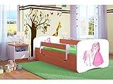 Kocot Kids Kinderbett Jugendbett 70x140 80x160 80x180 Calvados mit Rausfallschutz Matratze Schubalde und Lattenrost Kinderbetten für Mädchen und Junge Prinzessin und Pferd 140 cm