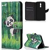 ZCXG Handyhülle Huawei Mate 10 Lite Hülle Leder Slim Magnet 3D Tasche Stand Flip Cover Tier Muster Schutzhülle mit Kartenfächer Geldscheinfach Klapphülle Mädchen Brieftasche Damen Design,Panda