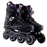 Sunkini Scarpe professionali per adulti Pattini a rotelle Ruote flash con protettore Unisex Resistente (Color : Black+purple, Dimensione : 37)
