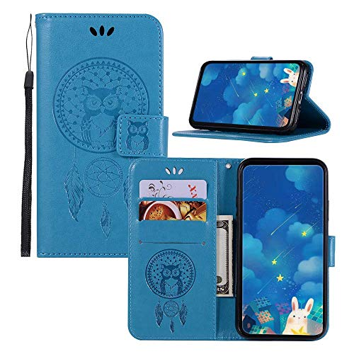 JZ BestCatgift Wallet Phone Funda Blade Z MAX [Embossed Owl] Solid Color PU  Leather Flip Cover para ZTE Blade Z MAX Z982 - Blue