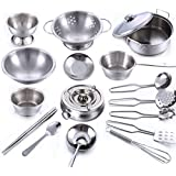 Inditake 18Pcs Stainless Steel Kids House Kitchen Toy Cooking Cookware Children Pretend Play Kitchen Playset - Silver