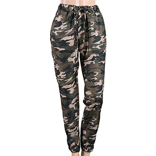 LAEMILIA Damen Jogginghosen Camouflage Hosen High Waist Lässig Lose Military Army Lange Hosen mit Tunnelzug Pants Streetwear
