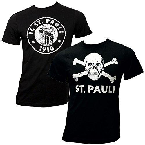 FC St. Pauli 2-teiliges T-Shirt Set Totenkopf Vereinslogo (M) (Die Nur Club-kleidung Herzen,)