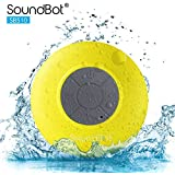 SoundBot® SB510 HD Water Resistant Bluetooth 3.0 Shower Speaker, Handsfree Portable Speakerphone with Built-in Mic, 6hrs of playtime, Control Buttons and Dedicated Suction Cup for Showers, Bathroom, Pool, Boat, Car, Beach, & Outdoor Use, Yellow