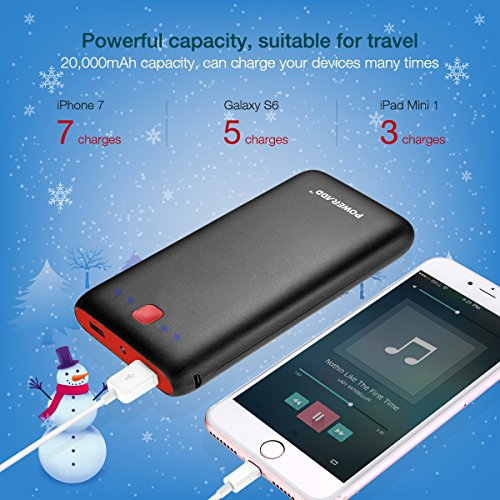 Poweradd Pilot X7 20,000mAh Portable Universal External Power Bank, Red-Black