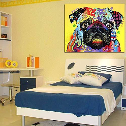 WSNDGWS Cute Dog Animal Ink Painting Pintura al óleo Inicio Hotel Decoración del hogar Lienzo Pintura Decorativa Pintura de Pared Sin Marco A3 40x50cm