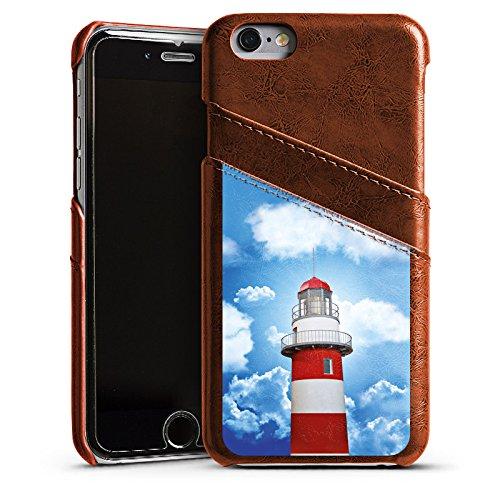 Apple iPhone 5s Housse Étui Protection Coque Phare Ciel Nuages Étui en cuir marron