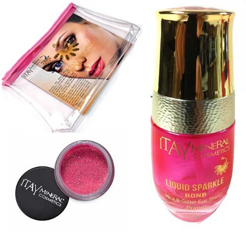Itay Mineral Cosmetic Mica & Glitter Bond (New! Refillable Glass Bottle)+ Glitter Powder in Lip Kiss G23+Cosmetic Bag (Bundle of 3 Items) by ITAY Mineral Cosmetics