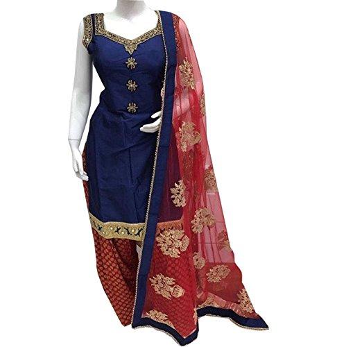 Krisha Creations Women's Silk Dress Material (Blue-Red)