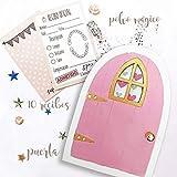 Puertas del ratoncito Pérez rosa, recibos oficiales y polvo mágico