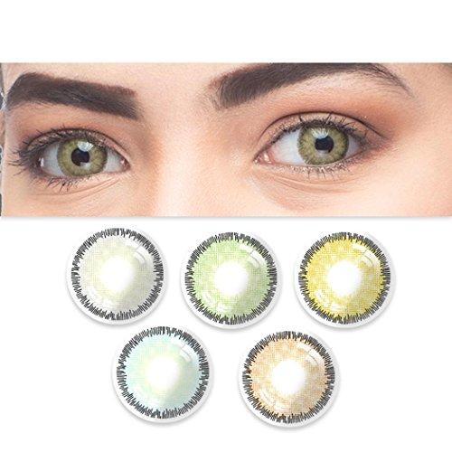 Sisaki 1 Paar Farbige Kontaktlinsen Jahreslinsen - Durchmesser: 1.5cm -Wassergehalt: 38% - Weich Natürliche ohne Stärke - verschiedene Farben, unterschiedliche Haptik und Charme