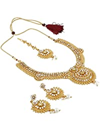 Aradhya Designer Gold Plated Necklace Set With Earrings For Women And Girls