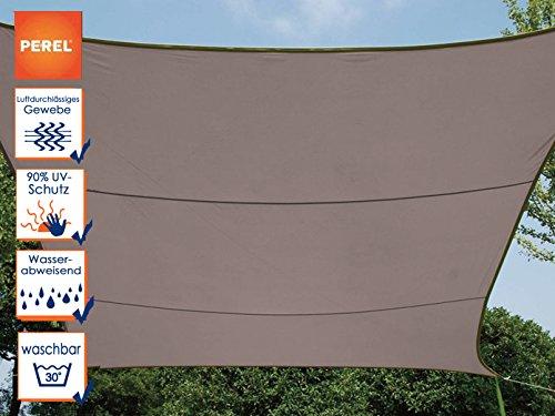 Perel GSS4320TA Sonnensegel-Rechteckig, Braungrau, 200 x 300 x 0,2 cm