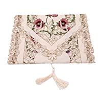 CanVivi Embroidered Hand-Embroidered Floral Tablecloth Dust-Proof Tablecloth Wedding Party Home Decoration,Pink