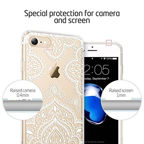 iPhone 7 Hülle (4,7 Zoll), ESR® Hybrid Hülle Muster, iPhone 7 Bumper Case [Weiche TPU Rahmen + Hart PC Rückdeckel] Schutzhülle für iPhone 7 (Pink Dahlia) White Leavers Lace