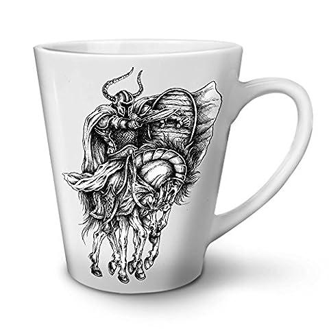 Old Warrior Horse Sport White Ceramic Latte Mug 12 oz | Wellcoda