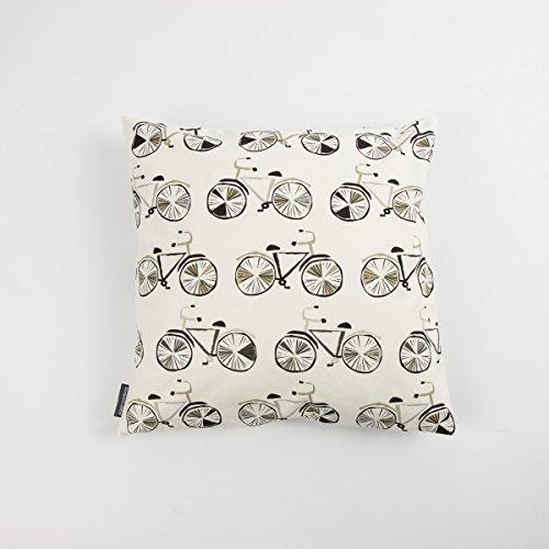 SCHÖNER LEBEN. Kissenhülle Fahrrad weiß schwarz grau 50x50cm