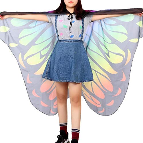 Sexy und stilvoll Frauen Chiffon Polyester Schmetterling Flügel Schal Frauen Halloween Kostüm Zubehör Cosplay Rave Dance (Color : E Pg0288)