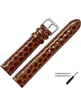 Uhrenarmband 18mm Leder braun echtes Schlangenleder (Seewasserschlange) - MADE IN GER - inkl. Federstege & Werkzeug...