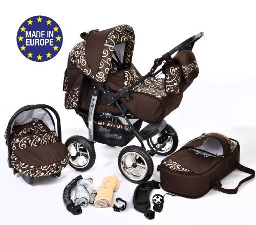 Kamil, Classic 3-in-1 Travel System with 4 STATIC (FIXED) WHEELS incl. Baby Pram, Car Seat, Pushchair & Accessories (3-in-1 Travel System, Brown & Wawy Lines)