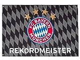 FC Bayern Fahne REKORDMEISTER 2018 Hiss Flagge Black Grau Raute 100 x 150 cm Original Ware + Ösen Service