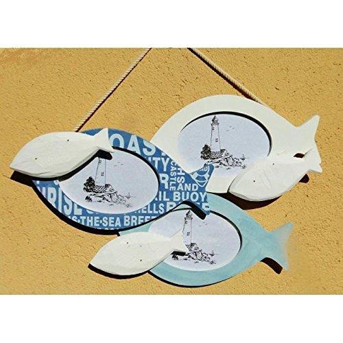 Bilderrahmen Collage Wandtattoo Gartenbank Fische Dekoration Marineblau der Meer 38cm x 22cm